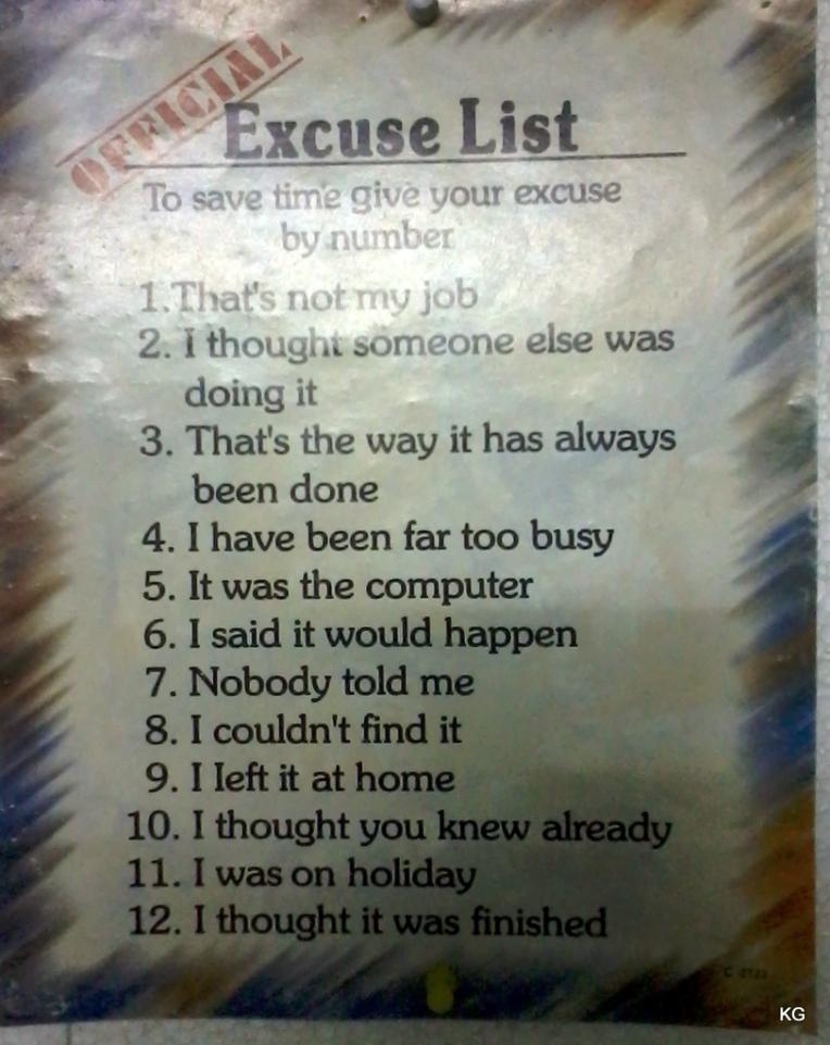 excuse list