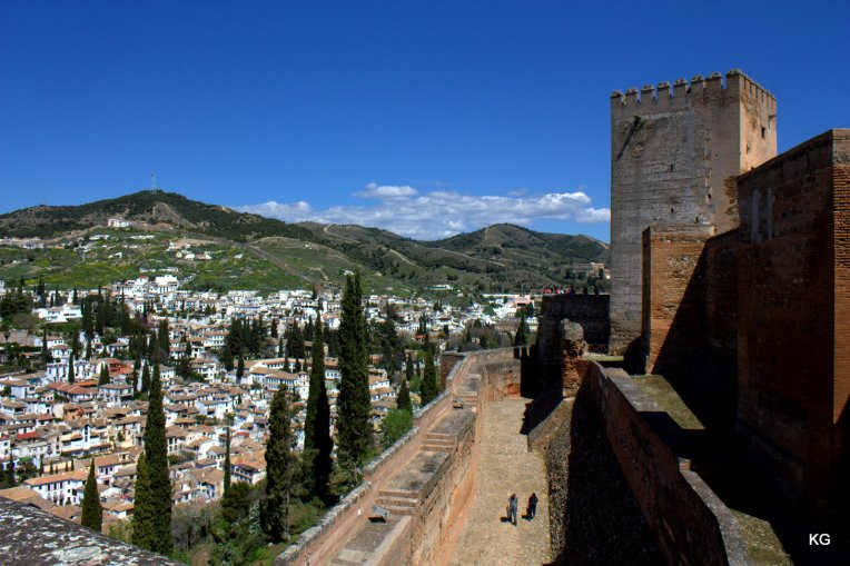 Granada-Alhambra-View of City + Fort