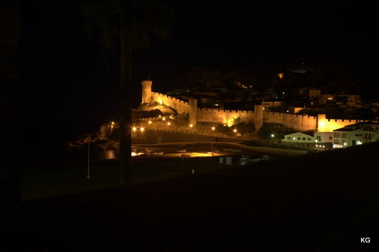 Tossa De Mar - View of the Fort + Light house at night