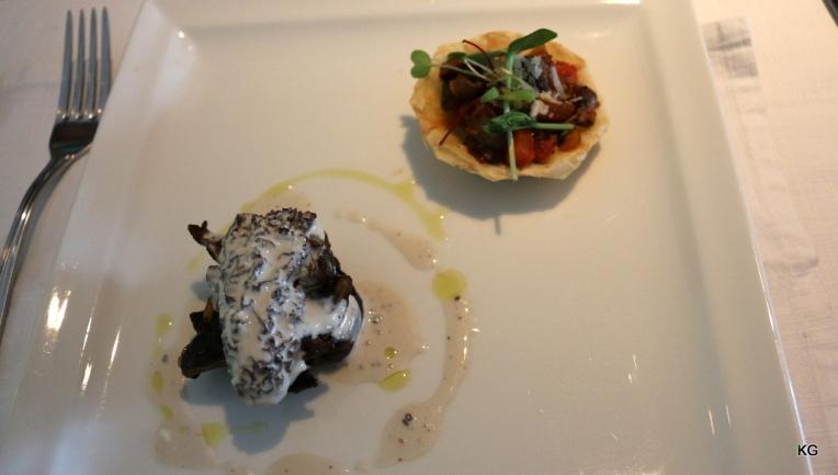 Glazed Morel and Shittake - Mushroom pisto, porcini sauce, parmesan crumble and spring onion